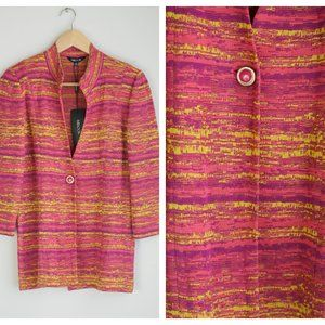 NWT Misook Knit Pink Yellow One Button Deep V Long